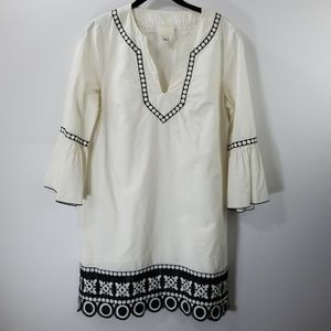Anna Sui White Embroidered A-line Dress Size 8